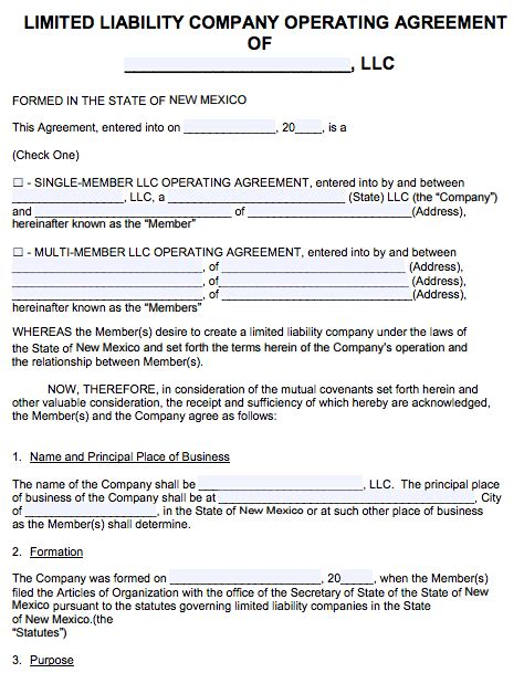 Free New Mexico Llc Operating Agreement Template Pdf Word New Mexico Llc Operating Agreement Template