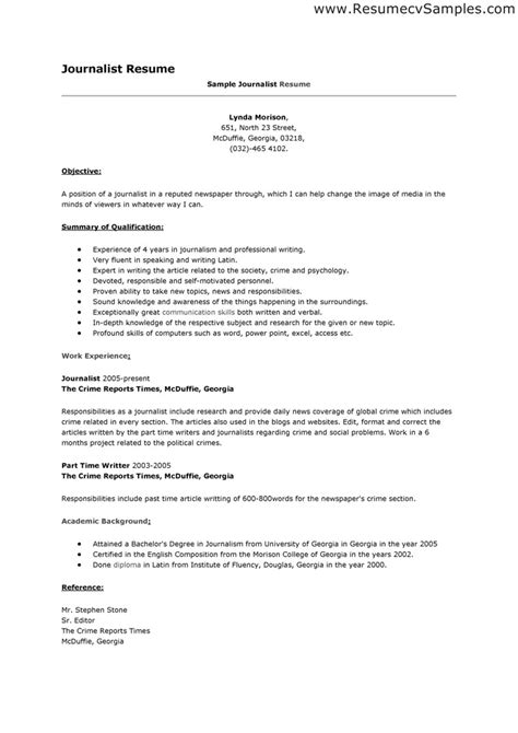 Sle Journalist Resume Objectives Journalism Resume Template Photographer Resume Template