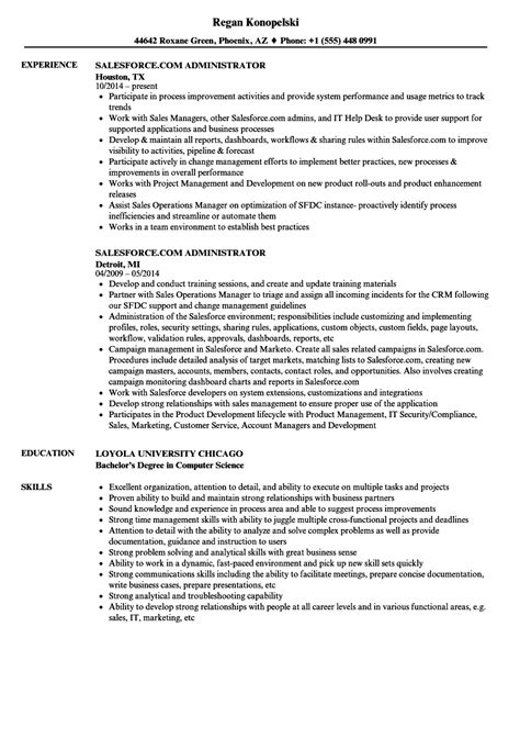 Salesforce Administrator Resume by Salesforce Administrator Resume Sle Annecarolynbird