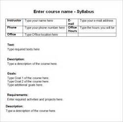 Create A Syllabus Template by Sle Syllabus Template 8 Free Documents In Pdf
