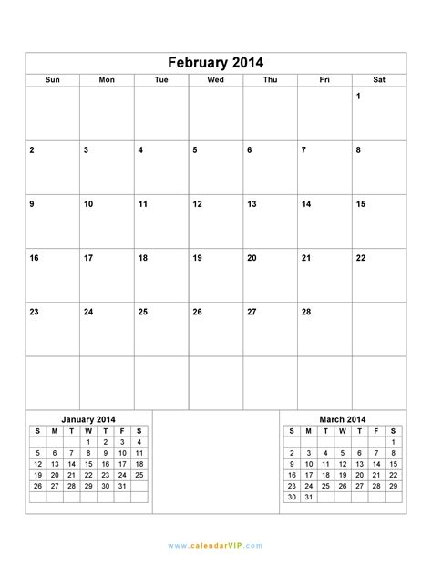 Feb 2014 Calendar February 2014 Calendar Blank Printable Calendar Template
