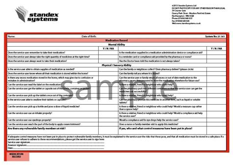 21 141 Medication Record And Risk Assessment Domiciliary Care Standex Systems Ltd Care Home Risk Assessment Template