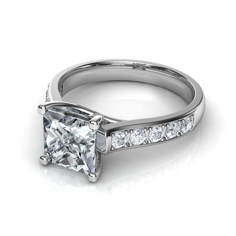 cross prong cathedral engagement ring
