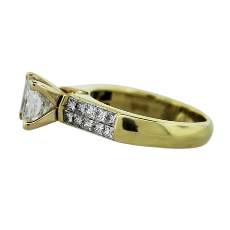 18k yellow gold princess cut engagement ring boca