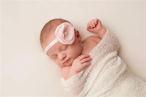 beautiful baby with flower headband stock image image newborn baby with light pink flower headband stock