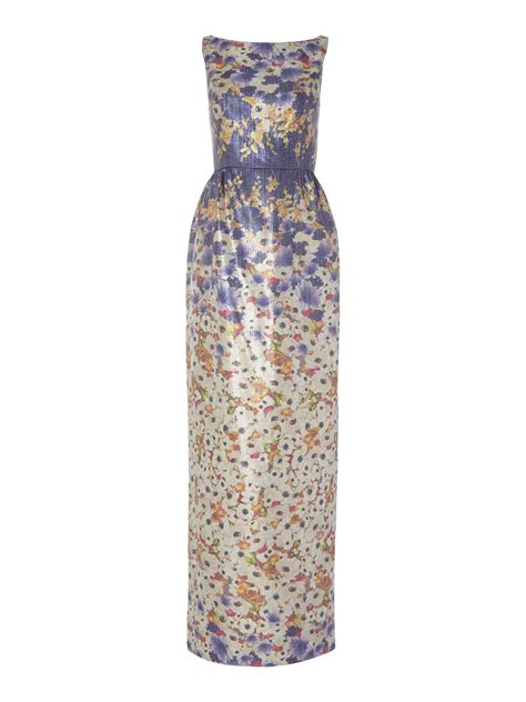 Dress Jacquard Gown 9 papell floral metallic jacquard maxi dress in purple save 44 lyst