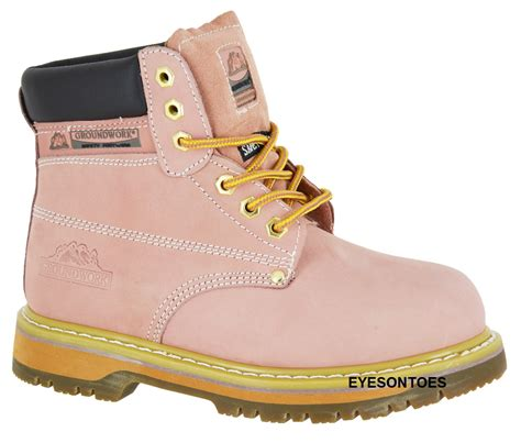 pink groundwork safety steel toe cap leather work
