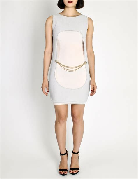 Channel Dress 2 chanel two pink silver metallic ribbed dress from amarcord vintage fashion