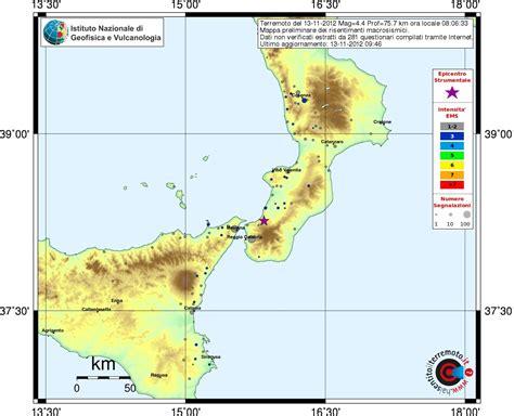 tremore interno cause terremoto di stamattina in aspromonte la scheda con gli