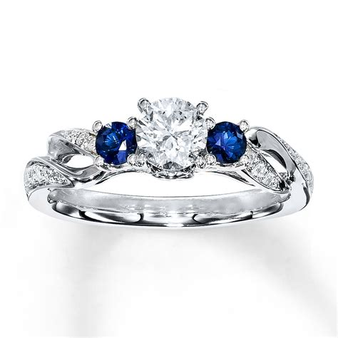 sapphire ring 1 2 ct tw cut 14k white gold