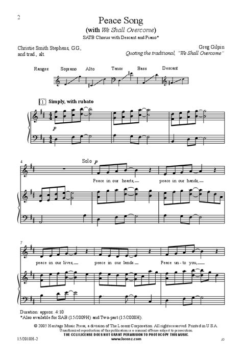 testo popular song peace song satb by greg gilpin j w pepper sheet