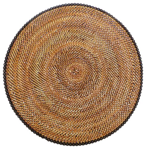 rattan placemat with black tropical