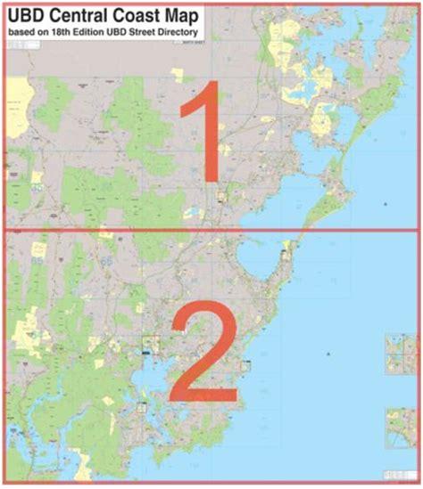 central coast australia map laminated wall maps nsw central coast 2 sheet n s