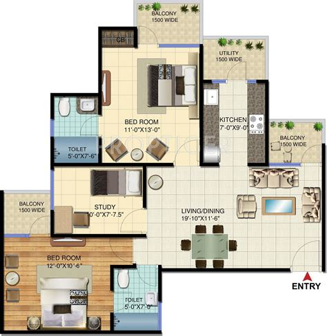 study room floor plan 1230 sq ft 2 bhk 2t apartment for sale in amrapali verona