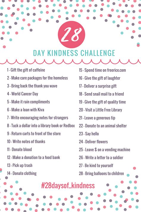 28 random acts of kindness 28 days of kindness a full month of random acts of