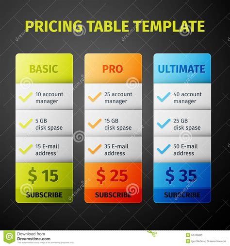 Vector Pricing Table Template Stock Vector Image 51725391 Subscription Plan Template