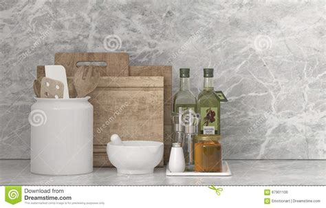 country kitchen utensils country kitchen utensils and condiments stock illustration