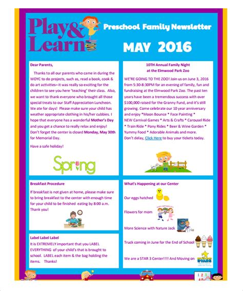 preschool newsletters templates sle preschool newsletter 8 free for word pdf