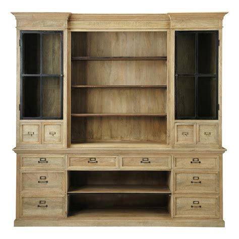 mango wood bookcase w 235cm naturaliste maisons du monde