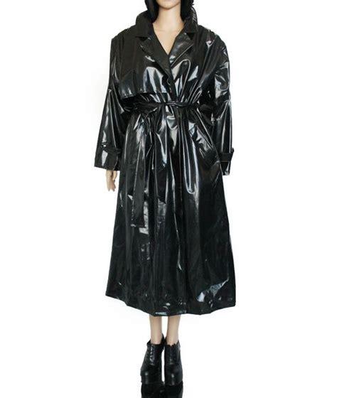 Veny Maxi m l black vinyl trench coat maxi shiny plastic pvc