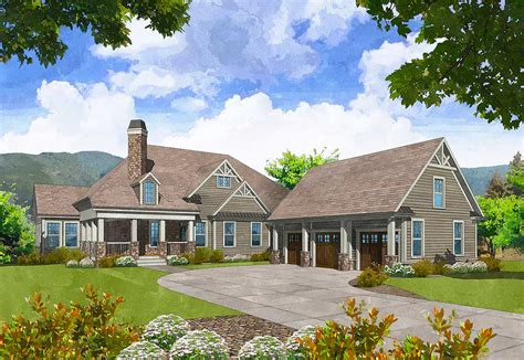 Mountain Craftsman Home With Detached Garage 29872rl Craftsman House Plans With Detached Garage