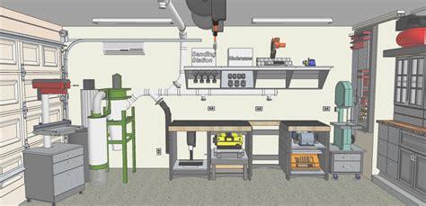 garage woodworking shop layout chris planned garage workshop the wood whisperer