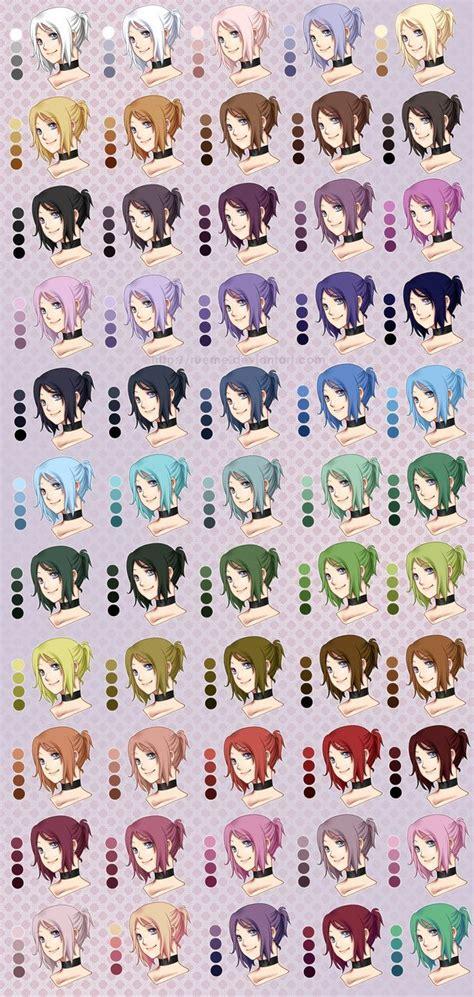 anime color chart best 25 anime hair color ideas on hair colour