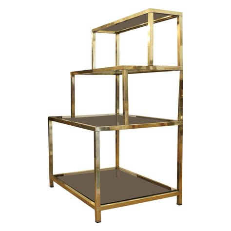 sleek mid century italian brass shelving unit at 1stdibs