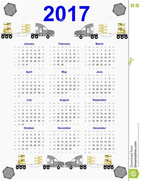 2017 Calendar All Months 2017 Calendar On Blue Design Stock Illustration Image
