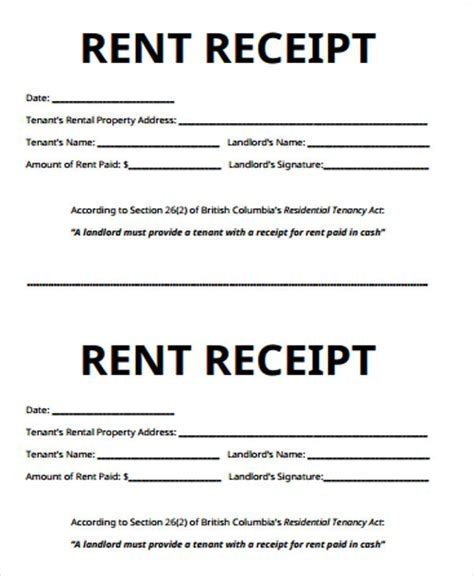 exle of a rent receipt template 7 receipt for rent sles sle templates