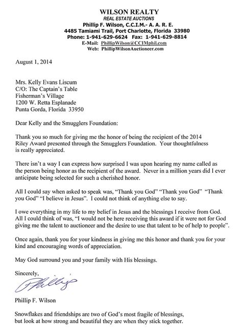 thank you letter to after receiving award letter from philip f wilson 2014 award winner