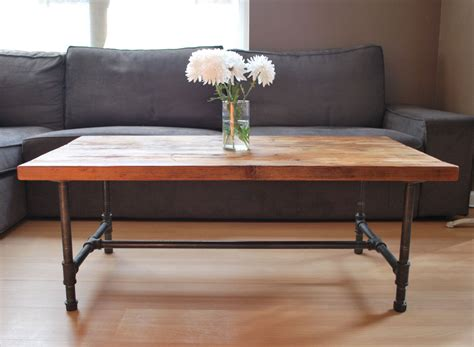 pipe leg coffee table wood coffee table with steel pipe legs made of reclaimed