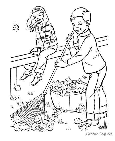 fall coloring book pages fall raking