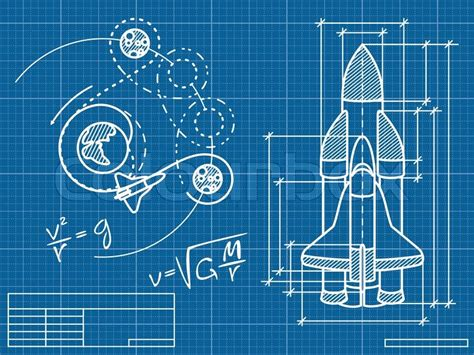 blue print of a house blueprint of the spaceship and its flight path stock