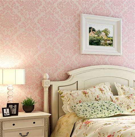 pink walls bedroom luxury victorian vintage light pink damask fabric