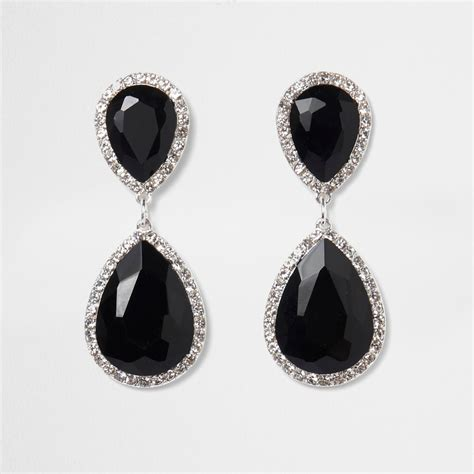 Black Earrings black teardrop drop earrings earrings jewellery