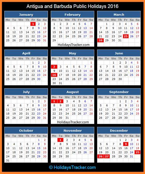 Antigua And Barbuda Calend 2018 Antigua And Barbuda Holidays 2016 Holidays Tracker