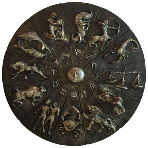zodiac vintage 1963 signed brutalist wall art astrological