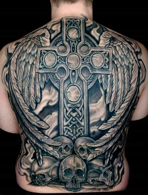 cross and skull tattoo superb complete back featuring a celtic cross and a