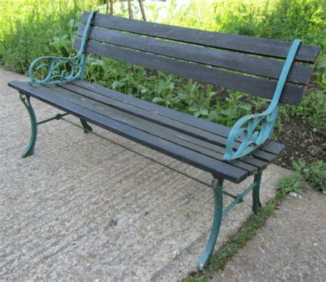 wood and cast iron garden benches old wooden garden bench with cast iron ends ebay 163 24