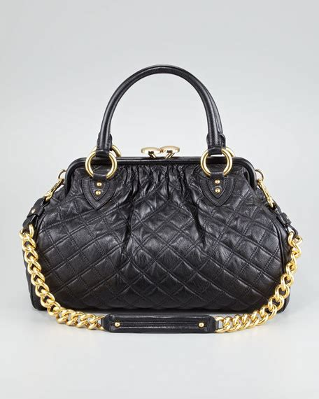 marc stam quilted leather satchel bag