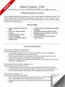 Exle Of A Cna Resume by Cna Resume Sle