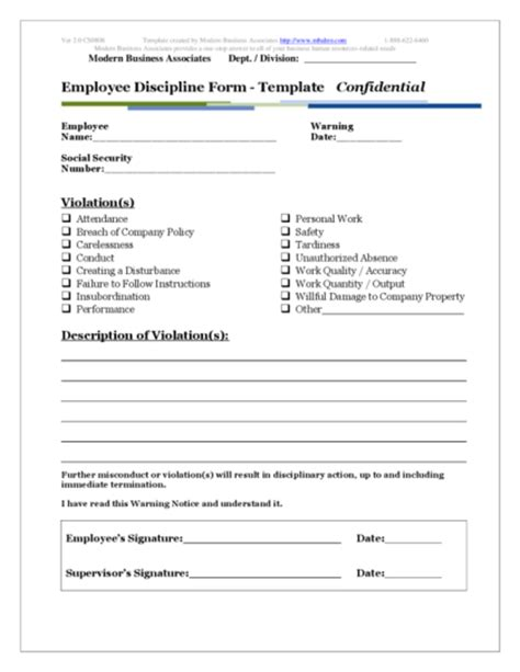 free employee write up forms