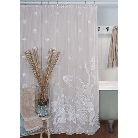 Beachy Curtains Designs Seascape Shower Curtain