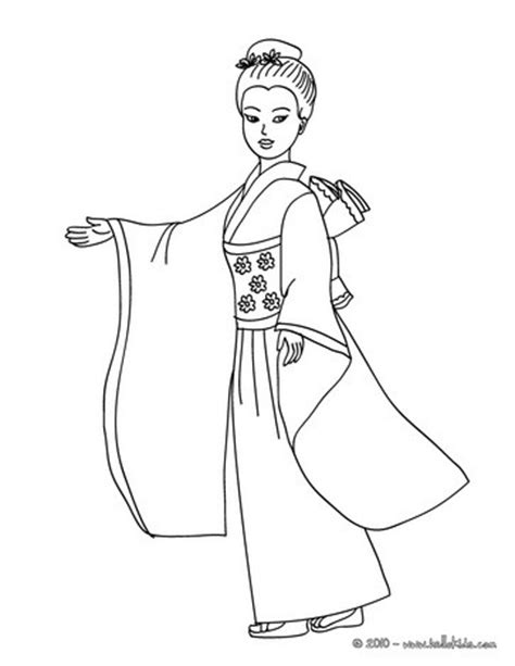 Japanese Princess Coloring Pages Hellokids