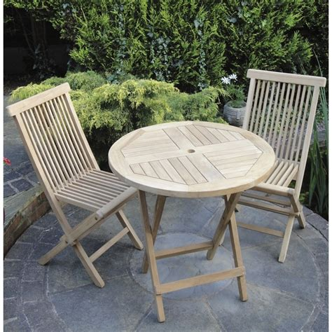 Teak Folding Round Bistro Set The Garden Factory Patio Furniture Bistro