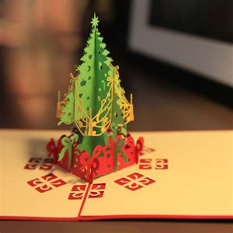 merry christmas tree 3d card laser cut pop up paper