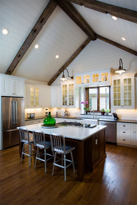 vaulted kitchen ceiling ideas 13 ways to add ceiling beams to any room beams glass
