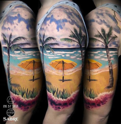 hawaiian beach half sleeve best tattoo design ideas