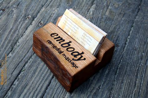 personalised office desk gifts personalized business card holder rustic live edge wood